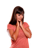 Fatigue young female with terrible throat pain Royalty Free Stock Photos