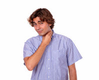 Fatigue young man with terrible throat pain Stock Photo