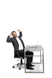 Fatigued businessman yawning. And stretching oneself. isolated on white background royalty free stock photo