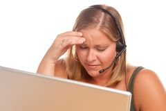 Fatigued Customer Support Woman with Headset Stock Photography