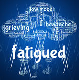 Fatigued Word Shows Lack Of Energy And Drowsiness Stock Photos