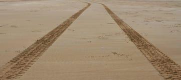 Fatiguez les voies dans le sable menant à l'horizon Image stock