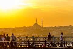 Fatih cami from Galata bridge Royalty Free Stock Photo