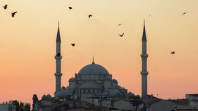 Fatih Camii Conqueror`s Mosque in Istanbul, Turkey. Dusk, Birds fly in silhouettes. Royalty Free Stock Photos