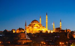 Fatih Mosque in Istanbul, with sunset Stock Photos
