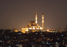 Fatih Sultan Camii Mosqueat night Istanbul, Turkey Royalty Free Stock Photography