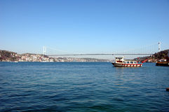 Fatih Sultan Mehmet Bridge. That connects Europe to Asia in Istanbul, Turkey royalty free stock photo