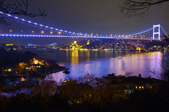 Fatih Sultan Mehmet Bridge. At the night istanbul Turkey Royalty Free Stock Image