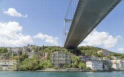 Fatih Sultan Mehmet Bridge and the coastline of Rumeli Hisari, Istanbul, Turkey Stock Photography