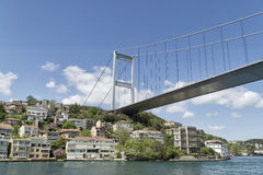 Fatih Sultan Mehmet Bridge and the coastline of Rumeli Hisari, Istanbul, Turkey Royalty Free Stock Photography