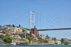 Fatih Sultan Mehmet Bridge and the Coastline of Rumeli Hisari, Istanbul, Turkey Royalty Free Stock Image