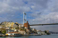 Fatih Sultan Mehmet Bridge, Istanbul, Turkey. View of the Fatih Sultan Mehmet suspension bridge spanning the Bosphorus strait and Hisarustu neighborhood in Royalty Free Stock Images