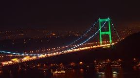 Fatih Sultan Mehmet Bridge by night. Royalty Free Stock Image