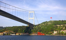 Fatih Sultan Mehmet Bridge over Bosphorus strait Stock Images