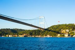 Fatih Sultan Mehmet Bridge over the Bosphorus Royalty Free Stock Photography