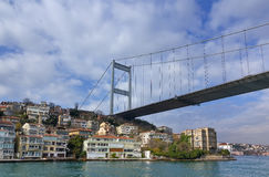 Fatih Sultan Mehmet Bridge over Hisarustu neighborhood, Istanbul, Turkey. View of the Fatih Sultan Mehmet suspension bridge spanning the Bosphorus strait and Royalty Free Stock Photo