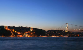 Fatih Sultan Mehmet Bridge and Rumeli Fortress-Cas Stock Photos