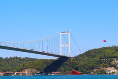 Fatih Sultan Mehmet Bridge and sea. And mountain in Istanbul, Turkey Royalty Free Stock Image