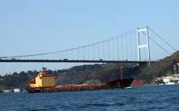 Fatih Sultan Mehmet Bridge with the tanker Stock Photos