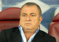 Fatih Terim in Romania-Turkey World Cup Qualifier Game Stock Photo