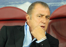 Fatih Terim in Romania-Turkey World Cup Qualifier Game Stock Image