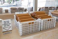 fatima ・葡萄牙圣所 香客的捐赠箱子 免版税库存照片