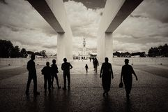 Fatima cathedral. Group of people in Fatima, Portugal royalty free stock image