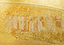 Fatima Shrine of Our Lady of the Rosary. Detail of the presbytery panel made of terracotta, gilt and molded manually in the Basilica of the Most Holy Trinity in stock photos
