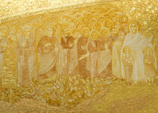 Fatima Shrine of Our Lady of the Rosary. Detail of the presbytery panel made of terracotta, gilt and molded manually in the Basilica of the Most Holy Trinity in royalty free stock photo