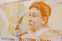 Fatma Aliye na cédula turca Foto de Stock
