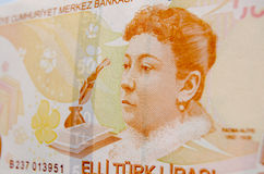 Fatma Aliye on Turkish Banknote. The Ottoman novelist Fatma Aliye on a Turkish banknote worth fifty Lira.Used banknote photographed at an angle Stock Photo