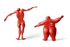 Fatness & fatless - 1. Red plasticine human figures on a white background Royalty Free Stock Images