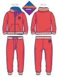 Fato de esporte vermelho com punhos e detalhes com nervuras do contraste ilustração royalty free