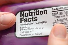 Fatos da nutrição Foto de Stock Royalty Free