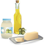 Fats. Group of fat products like mayonnaise, olive oil and slices butter Stock Images