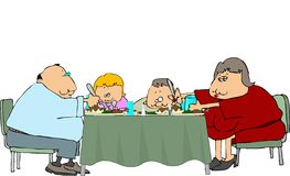 Fatseau Family Dinner. This illustration depicts a chubby family eating dinner Stock Photography