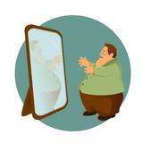 Fatso and the mirror. Vector image of cartoon fatso and the mirror Royalty Free Stock Images