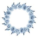 Fattar den indigoblå blom- kransen för vattenfärgen med, blommor, filialen och abstrakt begreppsidor Arkivbilder