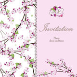 Fattar det blom- inbjudankortet för tappning med att blomma Fotografering för Bildbyråer