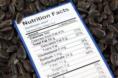 Fatti di nutrizione del seme di girasole fotografia stock