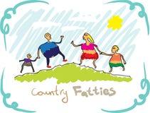 Fatties del paese. Disegnando, una famiglia Fotografie Stock Libere da Diritti