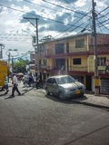 Fattig stad i Medellin Colombia royaltyfri bild