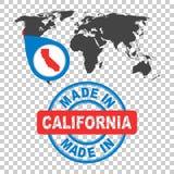 Fatto in California, l'America, bollo di U.S.A. Mappa di mondo con il conteggio rosso illustrazione vettoriale