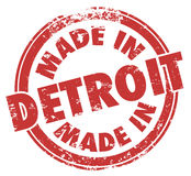 Fatto a Detroit esprime il logo rosso dell'emblema del distintivo di lerciume del timbro a umido Immagine Stock Libera da Diritti