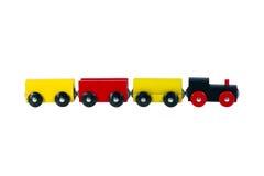 Fatto di legno, treni del giocattolo di configurazione. Immagini Stock Libere da Diritti