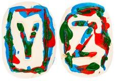 Fatto a mano variopinto delle lettere bianche dell'argilla Immagine Stock