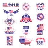 Fatto negli S La bandiera ha reso all'america la qualità del distintivo del prodotto delle bandiere degli stati americani autoade illustrazione vettoriale