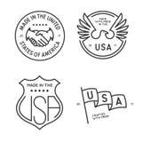 Fatto nei bolli dei distintivi delle etichette degli S.U.A. messi Illustrazione monocromatica d'annata di vettore Fotografia Stock Libera da Diritti
