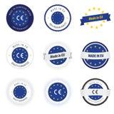 Fatto nei contrassegni, nei distintivi e negli autoadesivi di UE Fotografia Stock Libera da Diritti