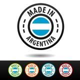 Fatto nei distintivi dell'Argentina con la bandiera argentina Fotografie Stock